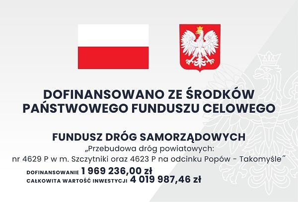 Informacja dotycząca przebudowanej drogi na odcinku Popów-Takomyśle