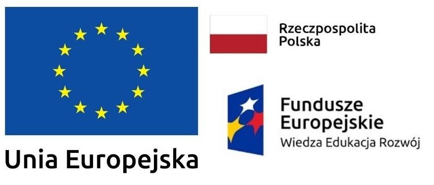 logotyp z flagą Unii Europejskiej, Polski i logiem Funduszy Europejskich