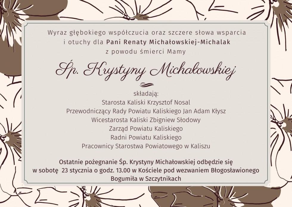 Kondolencje dla Pani Renaty Michałowskiej-Michalak